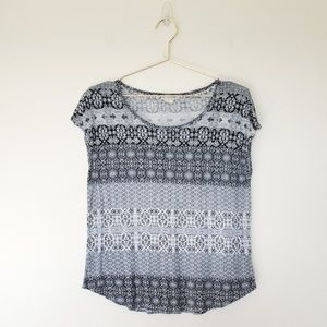 Lucky Brand Cap Sleeve Patterned Tee M